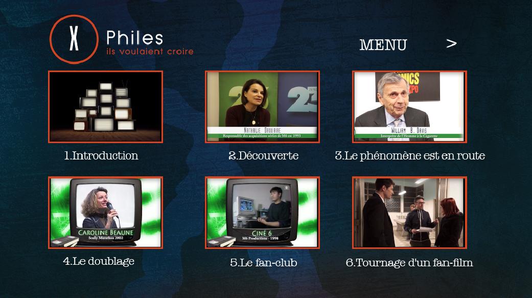 x-files - Détails du DVD X-Philes, Ils Voulaient Croire, premier documentaire Smallthings Menu DVD XPHILES 2