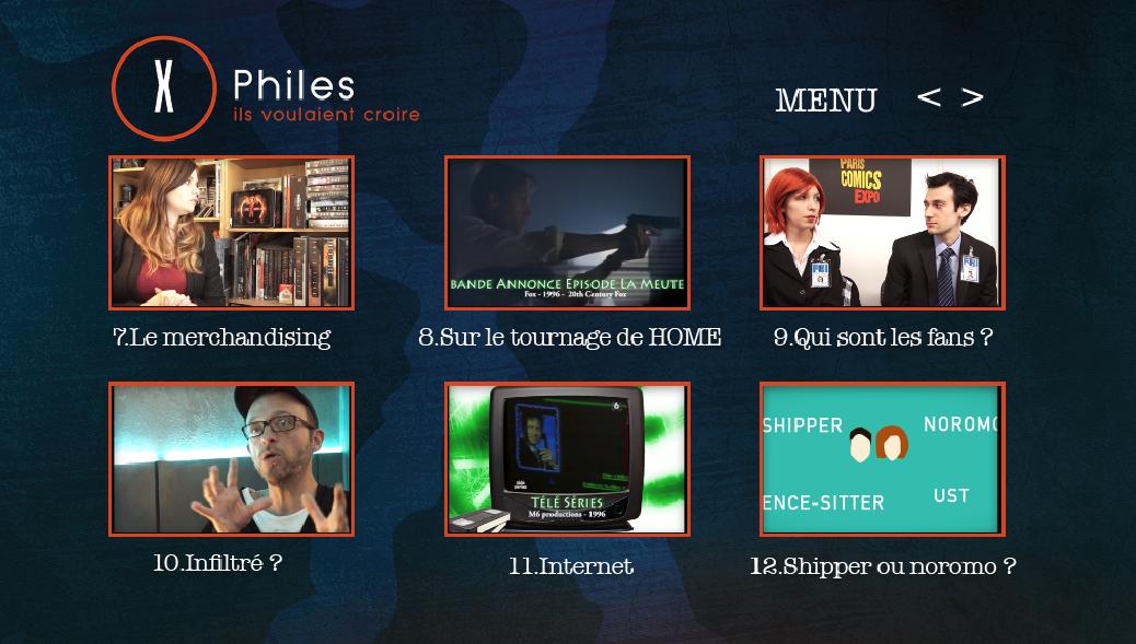 x-files - Détails du DVD X-Philes, Ils Voulaient Croire, premier documentaire Smallthings Menu DVD XPHILES 3