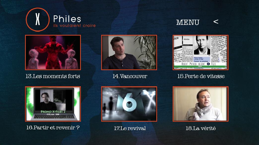 x-files - Détails du DVD X-Philes, Ils Voulaient Croire, premier documentaire Smallthings Menu DVD XPHILES 4